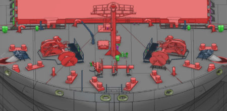 3D image of ship mooring and equipment arrangement