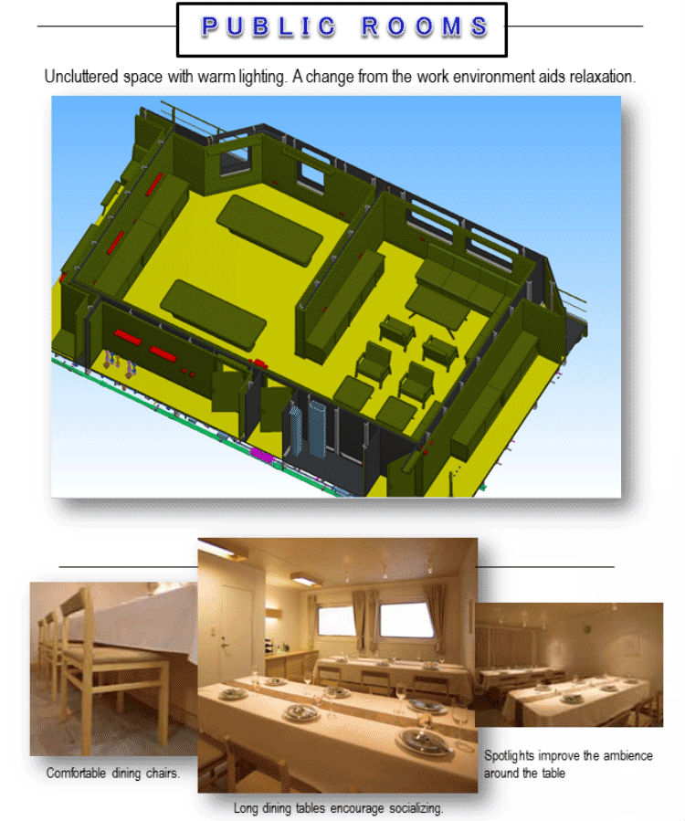 3D drawing plan with actual photo of the ship's Public Room