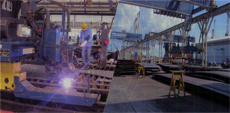 Photo of plate cutting activities at ship yard