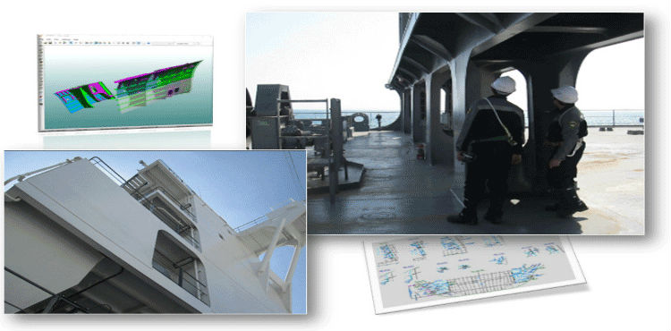 Image with photos of Working Plan activities at Tsuneishi shipyard