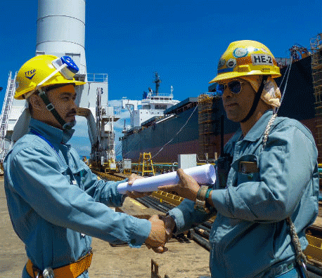 ship designer and engineer in shipyard